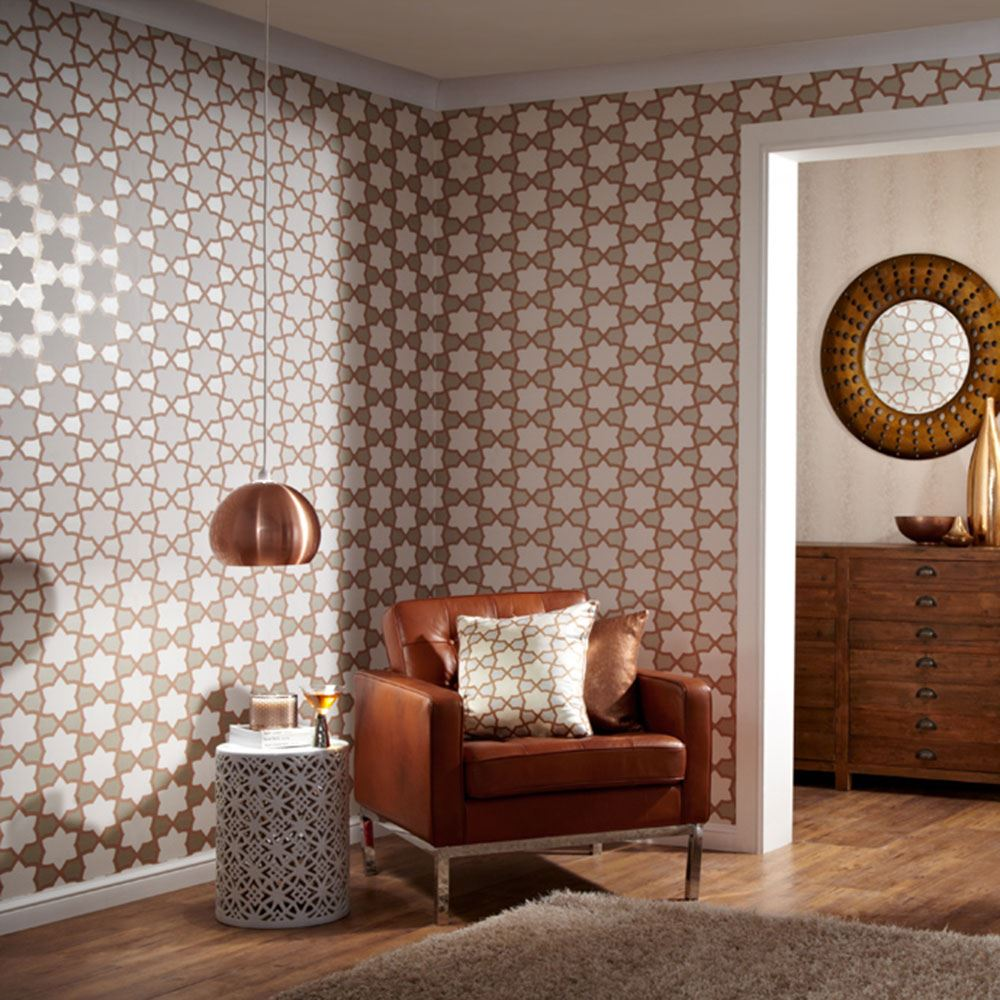 glitter moroccan stars arthouse tropics rio copper wallpaper 690700 ebay. Black Bedroom Furniture Sets. Home Design Ideas