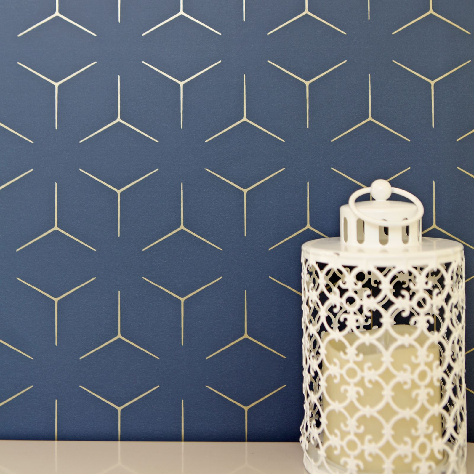 Details About Metro Illusion Geometric Wallpaper Navy Blue Gold Wow005 Metallic