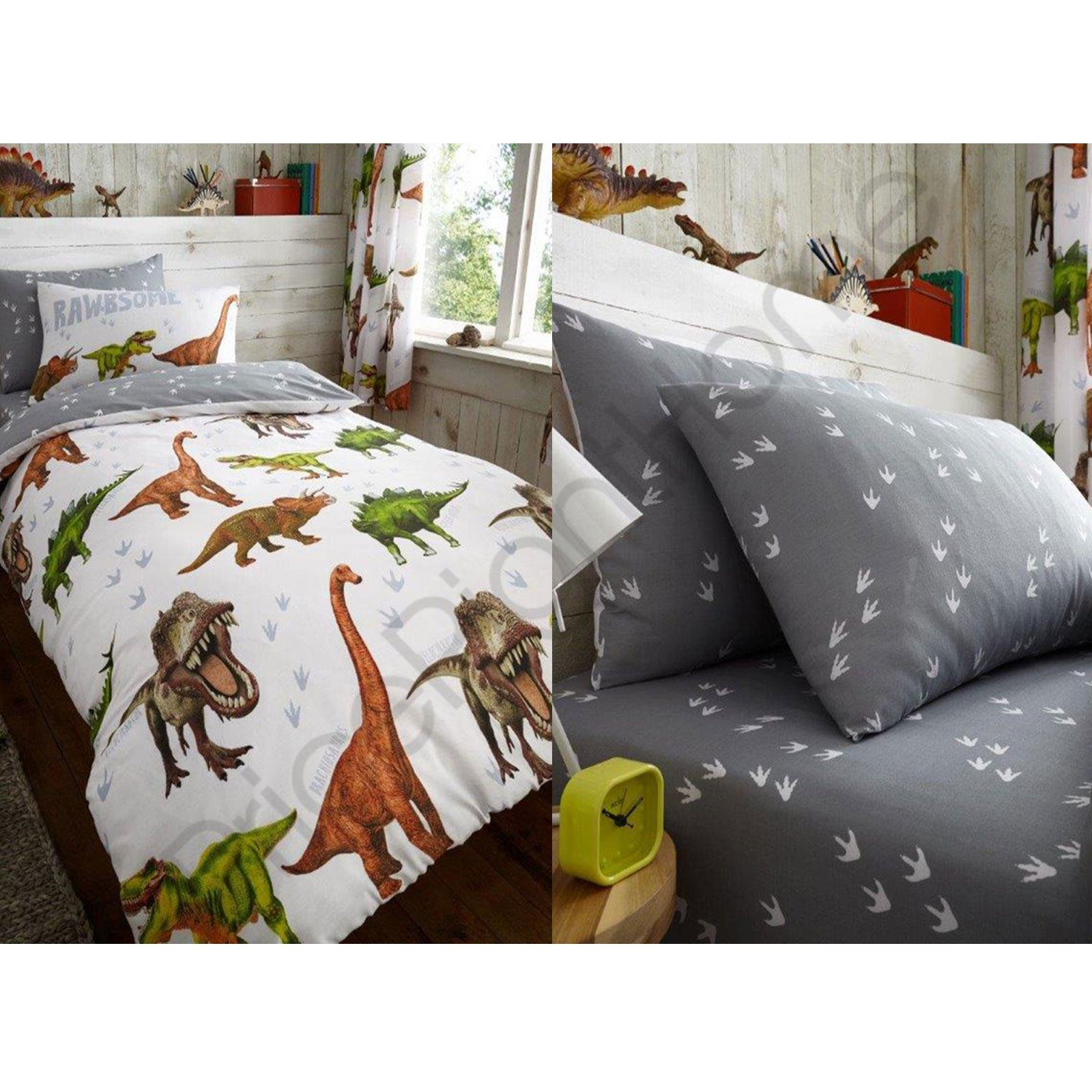 Rawrsome Dinosaur T Rex Duvet Cover Fitted Sheet Bedding