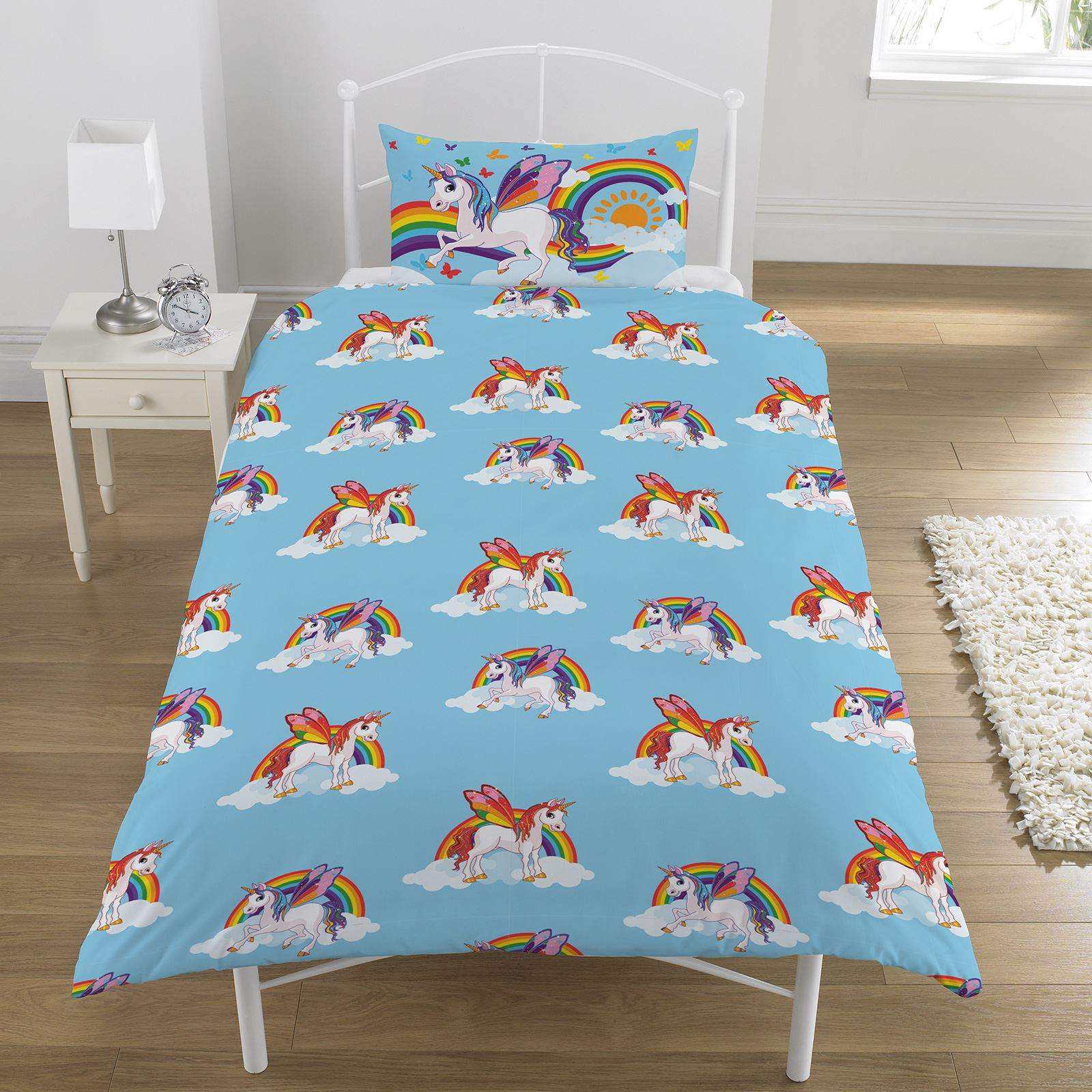 regenbogen einh rner einzelbettbezug set wende kinder m dchen bettw sche pferde ebay. Black Bedroom Furniture Sets. Home Design Ideas