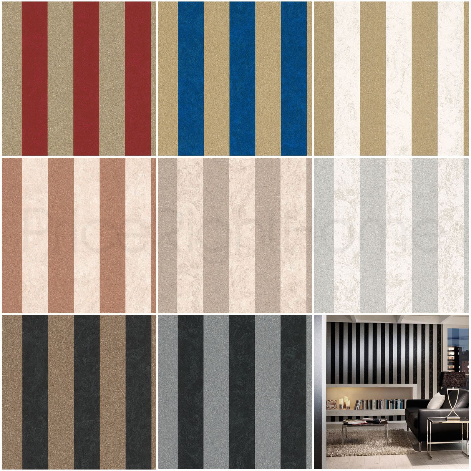 Details About P S Carat Glitter Stripe Wallpaper Copper Silver Gold Blue Black Red More