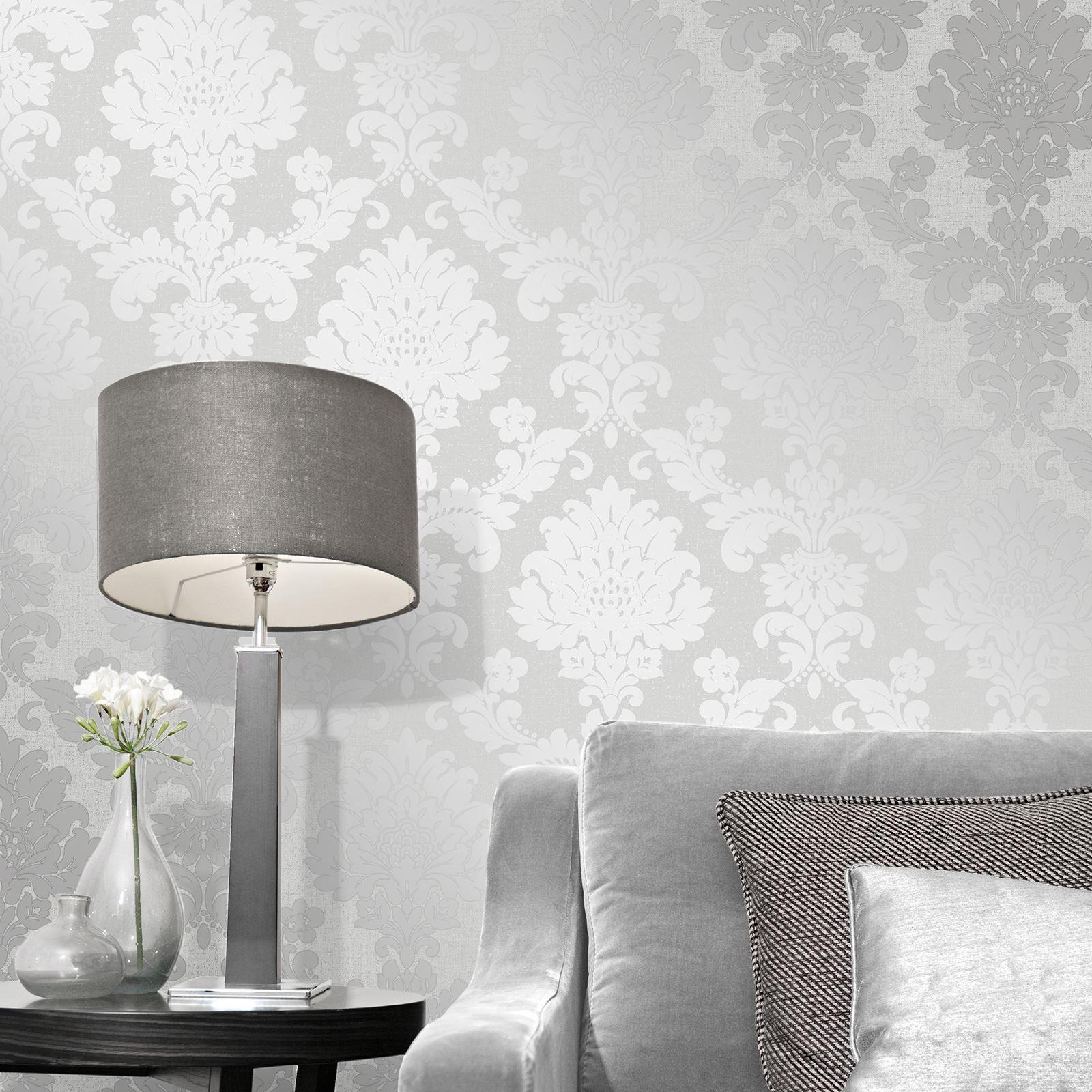 Fine Decor Quartz Damask Wallpaper Silver Gold Rose Gold