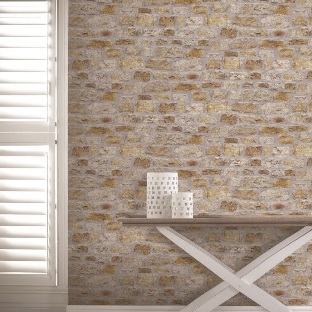 Rustic Brick Wall Decor : Arthouse rustic stone effect wallpaper brick morrocan