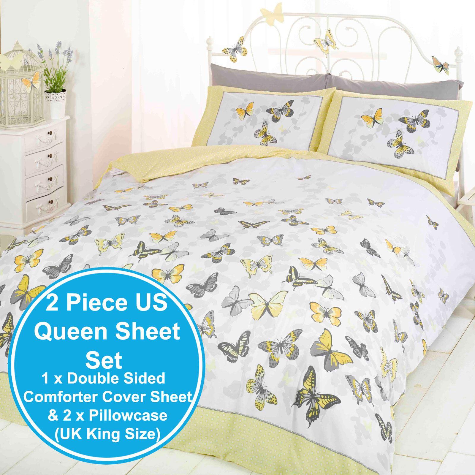 papillon flutter citron parure housse de couette king size jaune literie ebay. Black Bedroom Furniture Sets. Home Design Ideas