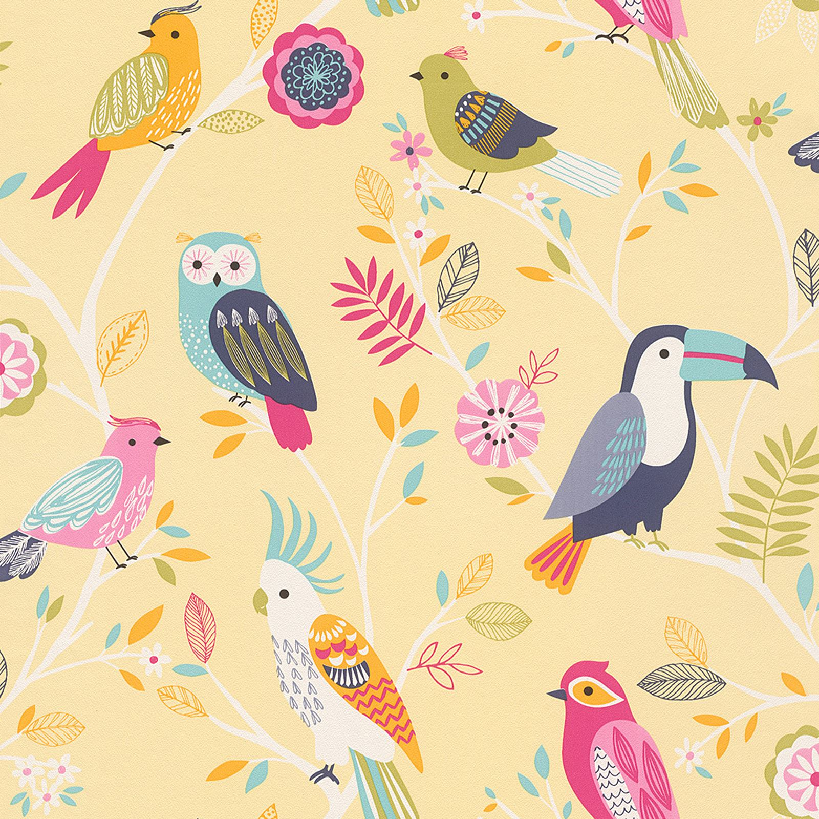 RASCH BIRDS WALLPAPER - YELLOW, PINK, NATURAL HOME WALL DECOR ...
