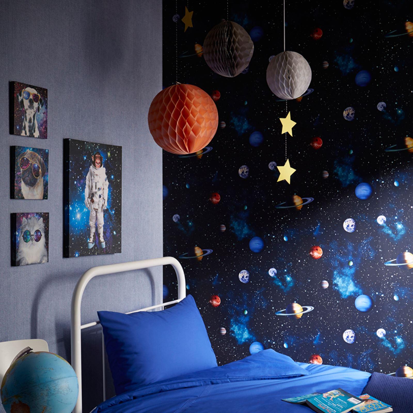 Kids boys wallpaper cars space football graffiti childrens - Space wallpaper room ...
