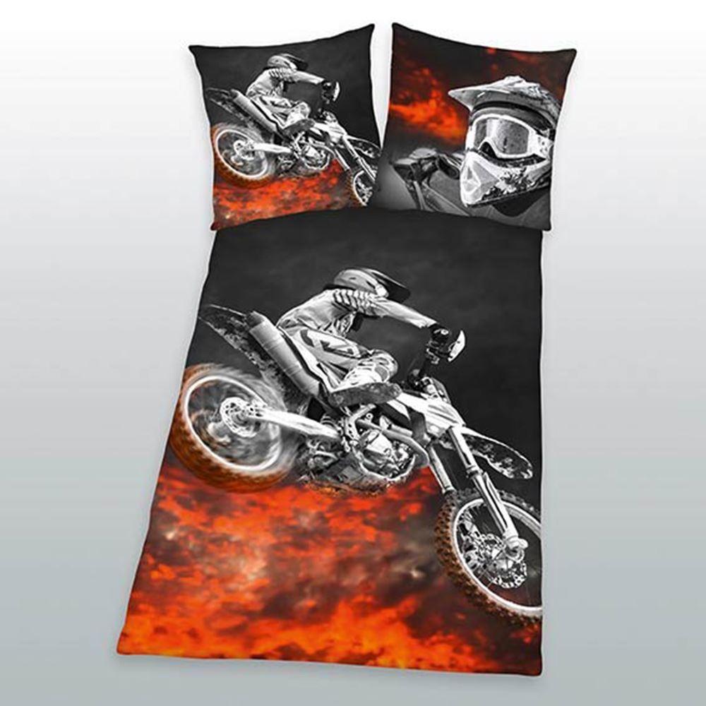 motorrad flammen einzelbett bettbezug und kissenbezug set. Black Bedroom Furniture Sets. Home Design Ideas