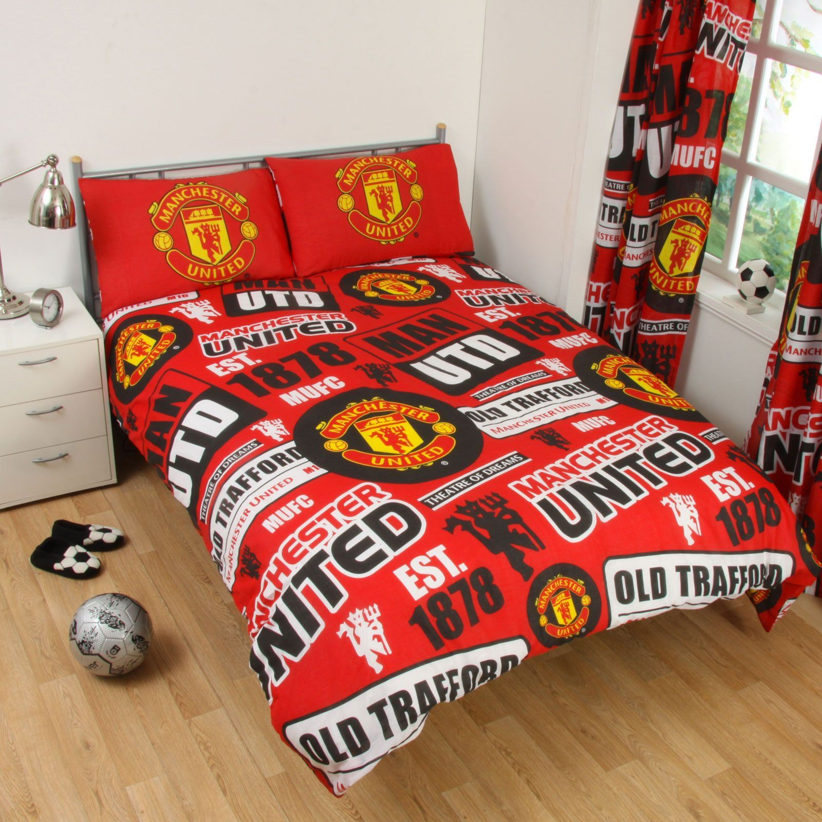 Manchester United Fc Patch Double Duvet Cover New Man Utd Bedroom Ebay