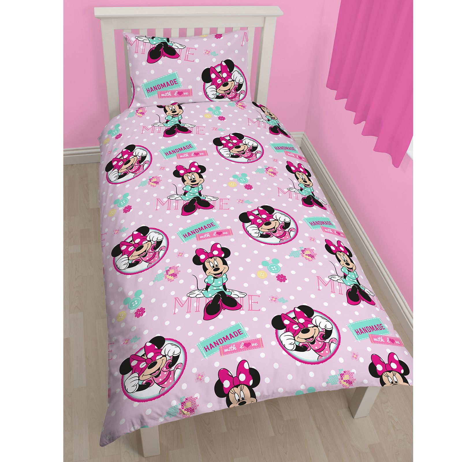 minnie mouse kreuzstich einzelne wendbare bettw sche schlafzimmer neu ebay. Black Bedroom Furniture Sets. Home Design Ideas
