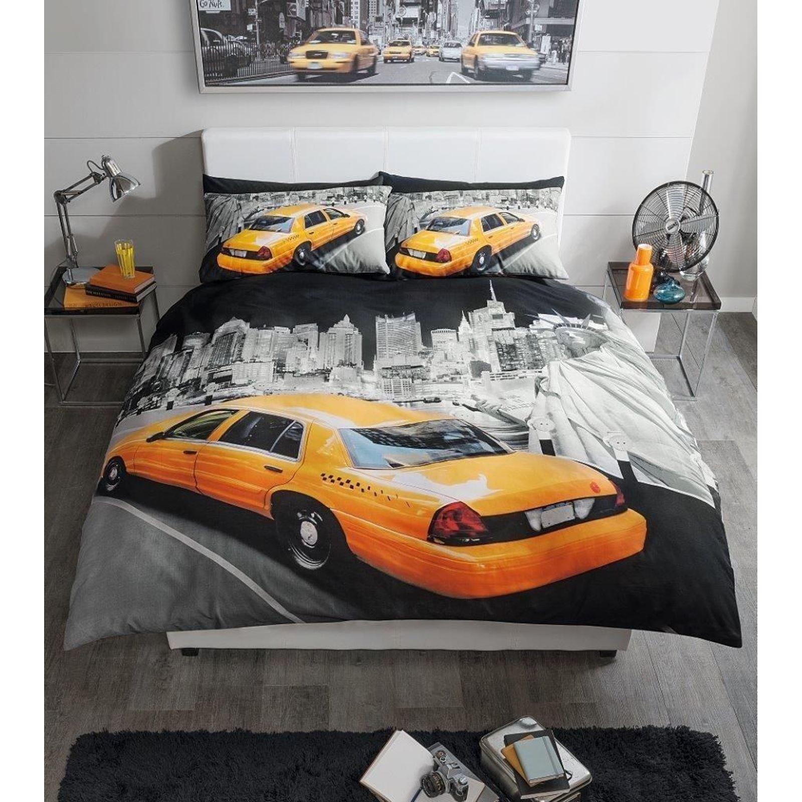 Moderne new york taxi jaune housse de couette king size for Housse de couette taxi jaune new york