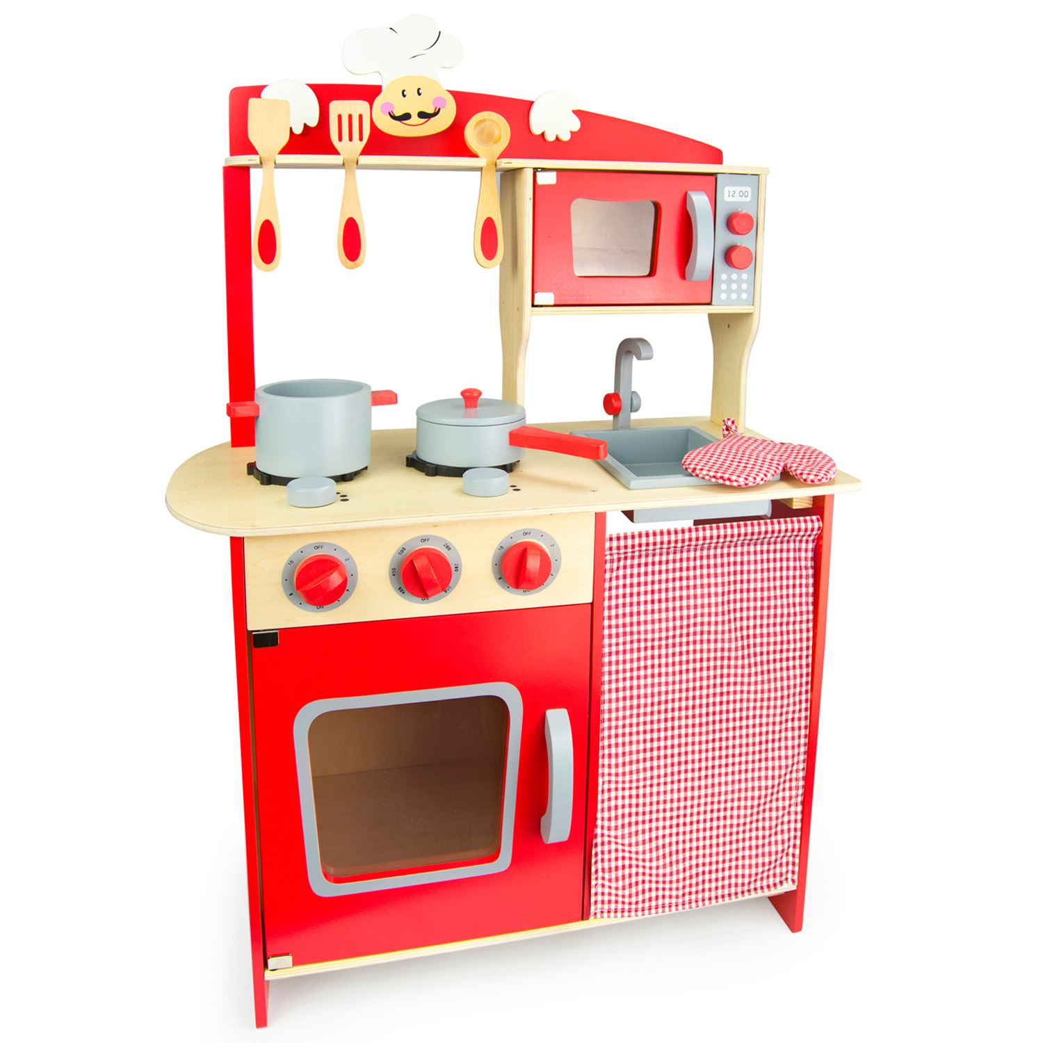 role play kitchen accessories wooden chef kitchen with accessories by leomark 4855