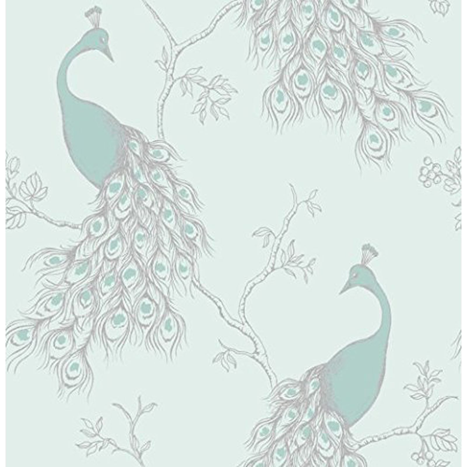 fine d cor teal duck egg wallpaper shabby chic owl peacock scroll tree ebay. Black Bedroom Furniture Sets. Home Design Ideas