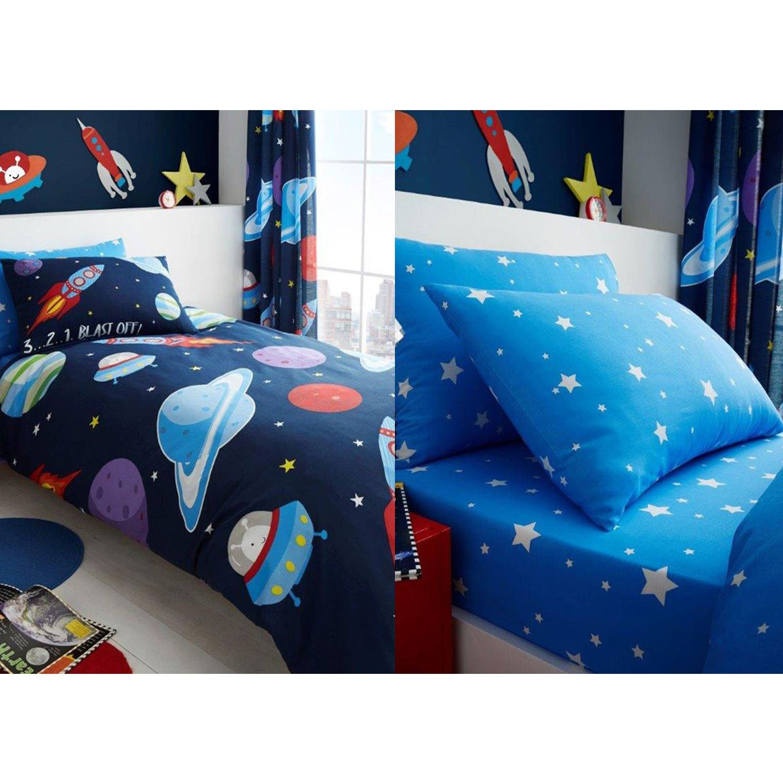 Esterno spazio stelle biancheria da letto set copripiumino singolo ebay - Biancheria da letto amazon ...