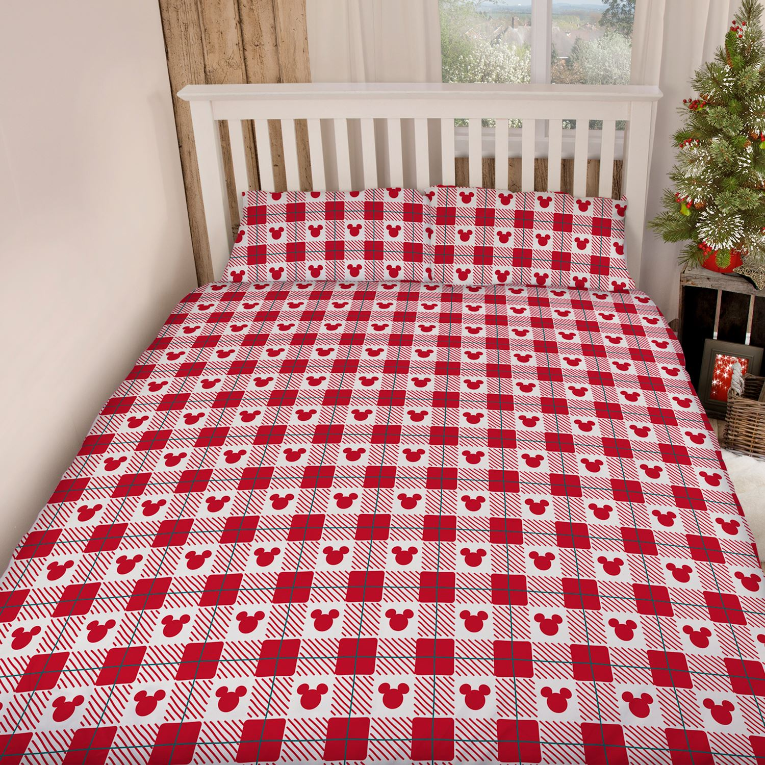 mickey and minnie mouse christmas king size duvet cover set official new ebay. Black Bedroom Furniture Sets. Home Design Ideas