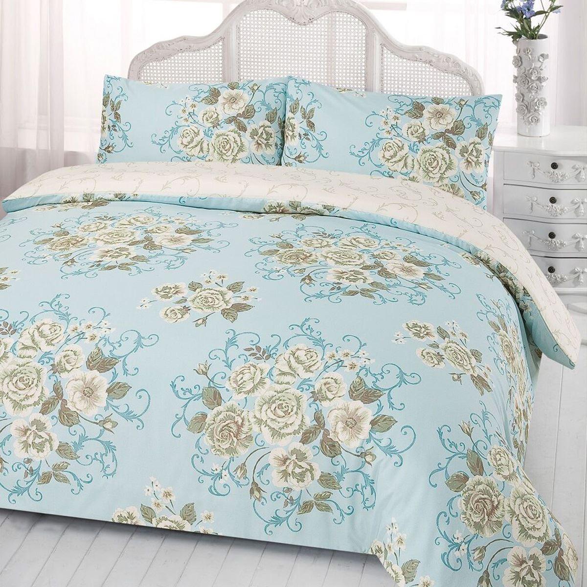 Flora Rosa Juego Funda Edredón Ropa de cama reversible Azul - Doble ...