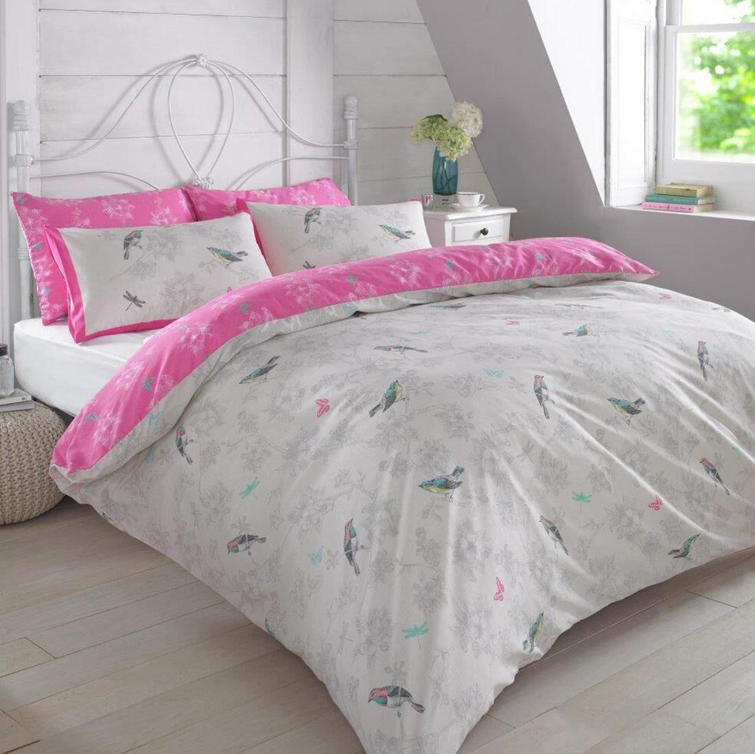 Hide A Bed Sheets: VINTAGE BIRDS DUVET COVER SET MINT & PINK BEDDING