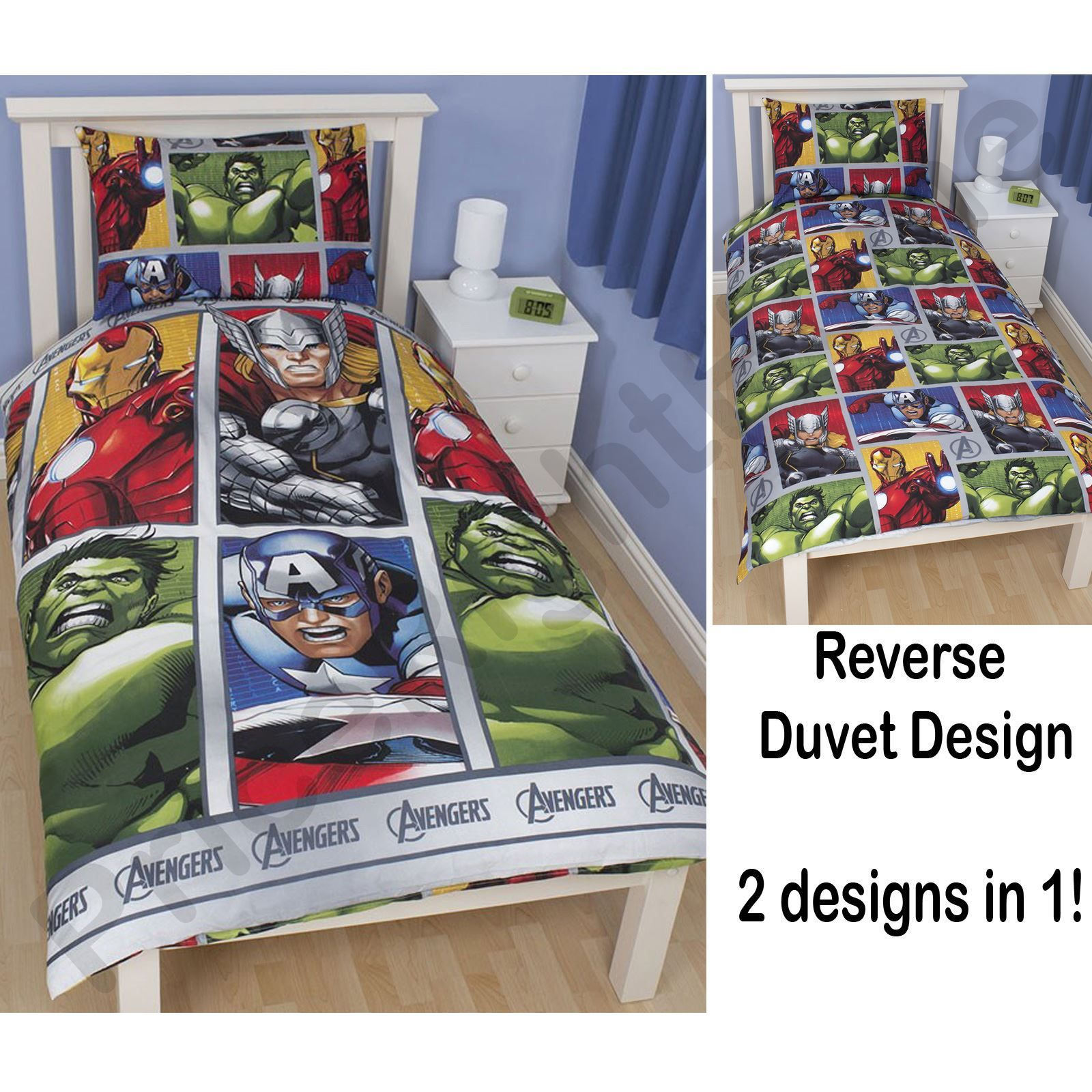 Oficial-Vengadores-Marvel-Dormitorio-Edredones-Cortinas-Cojin-Manta-Reloj-y-mas