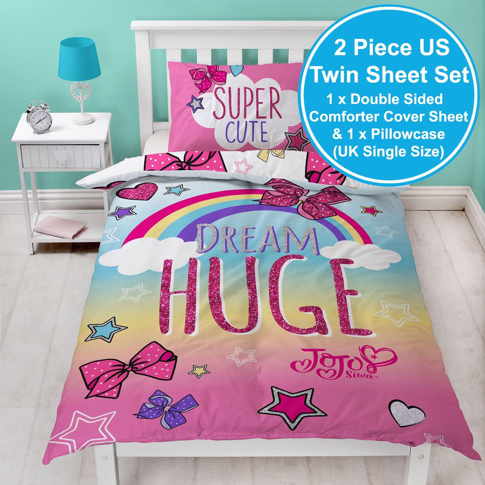 Jojo Siwa Bows Rainbow Single Duvet Cover Set Kids Bedding