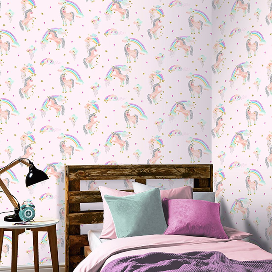 Kids childrens girls pink lilac wallpaper unicorn for Lilac butterfly wallpaper