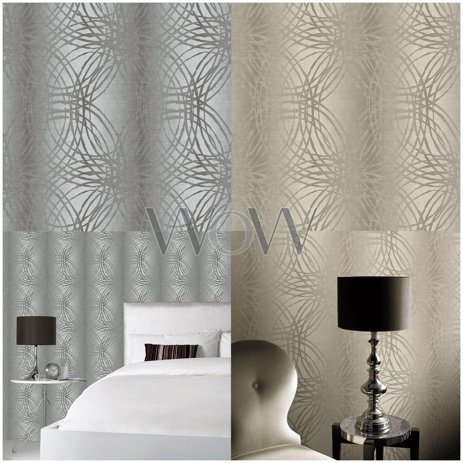 Grandeco Leon Textured Geometric Glitter Wallpaper Silver Taupe