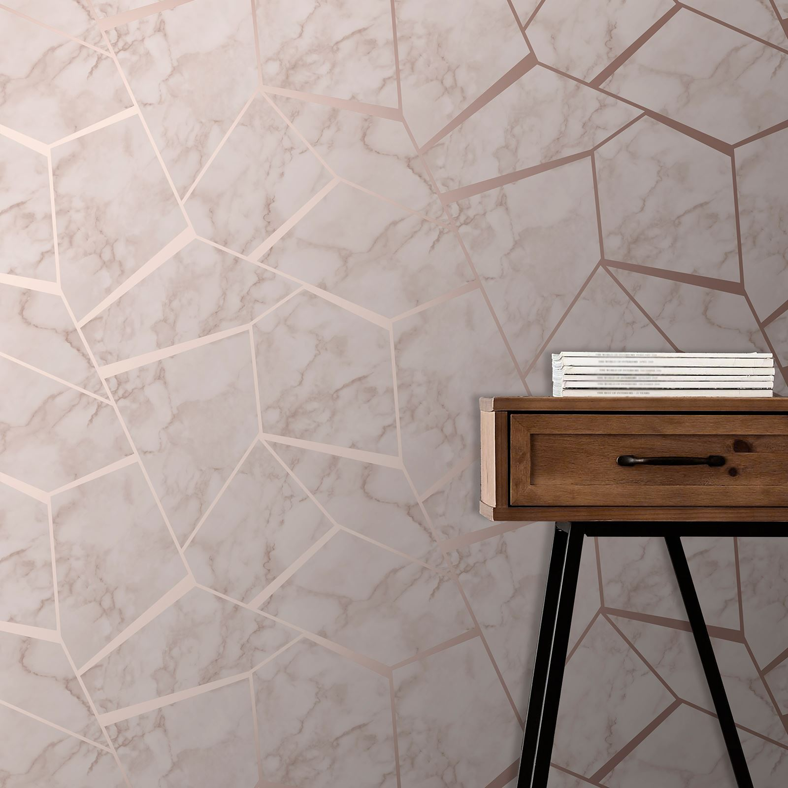 FINE-DECOR-METALLIC-GEOMETRIC-PLAIN-MARBLE-WALLPAPER-ROSE-GOLD-COPPER-SILVER thumbnail 9