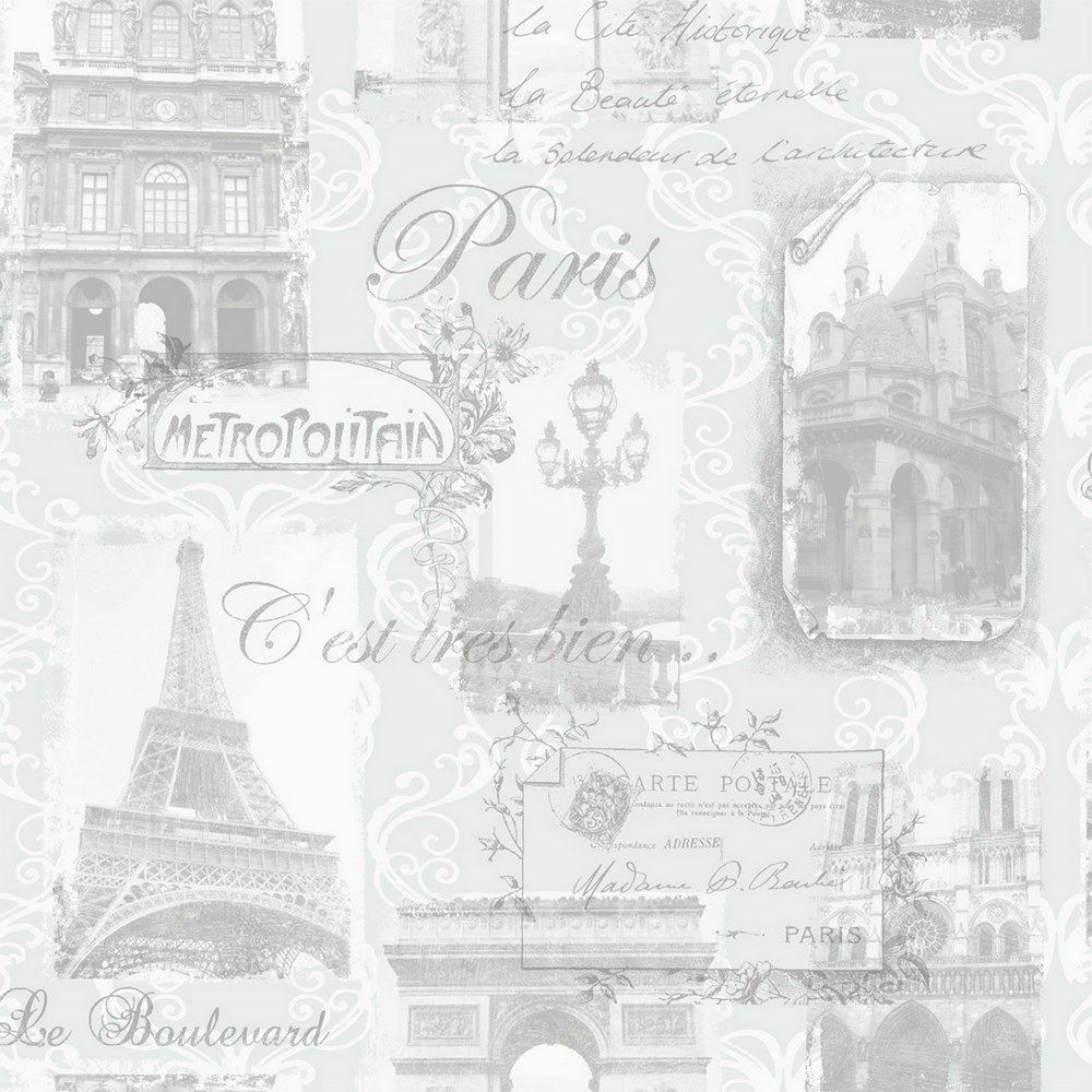 As Creation Pink Paris Pattern Eiffel Tower Childrens: PARIS POSTCARD EIFFEL TOWER WALLPAPER METALLIC