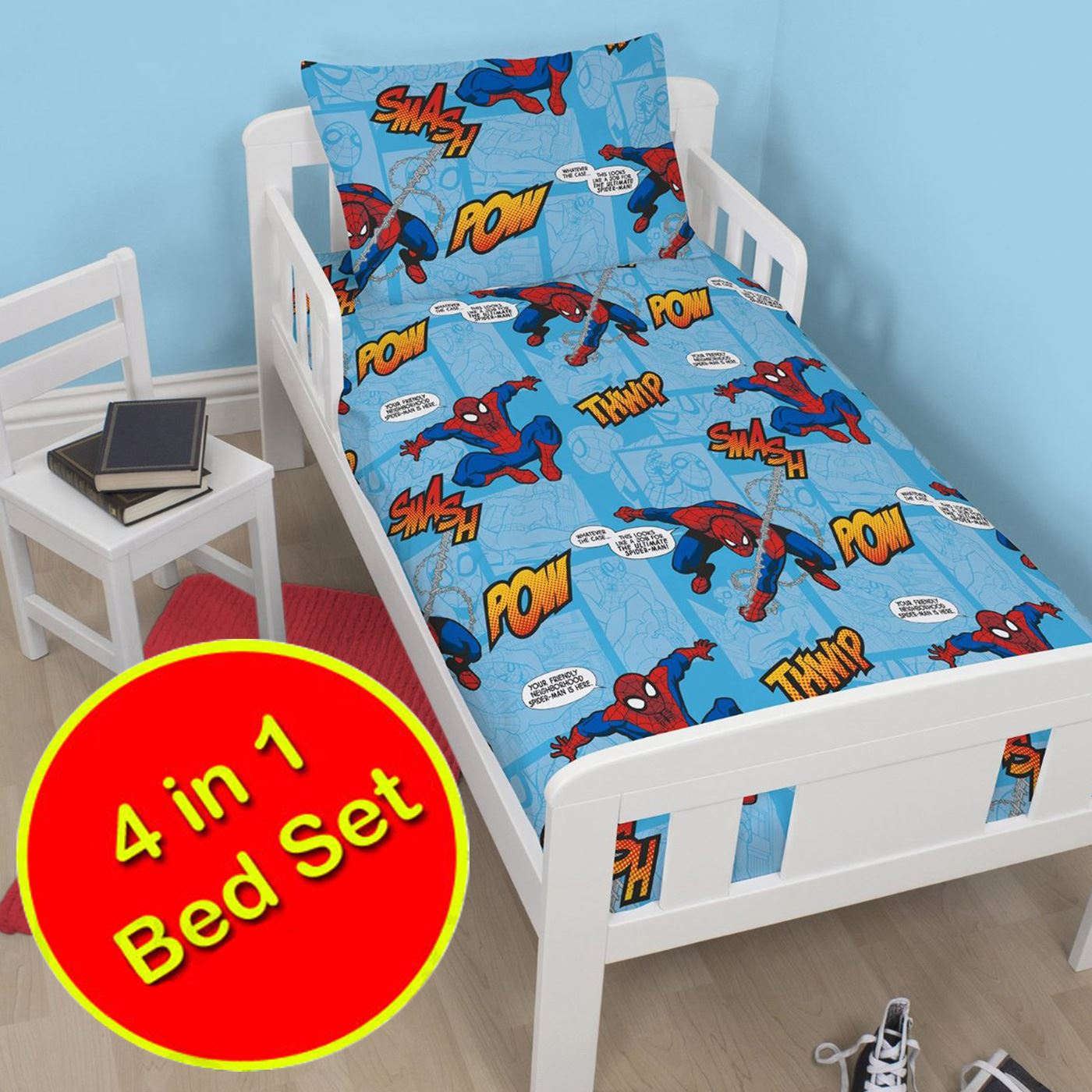 Spiderman and friends bedding - Spiderman Thwip 4 In 1 Junior Toddler Bedding Bundle Duvet Pillow Covers