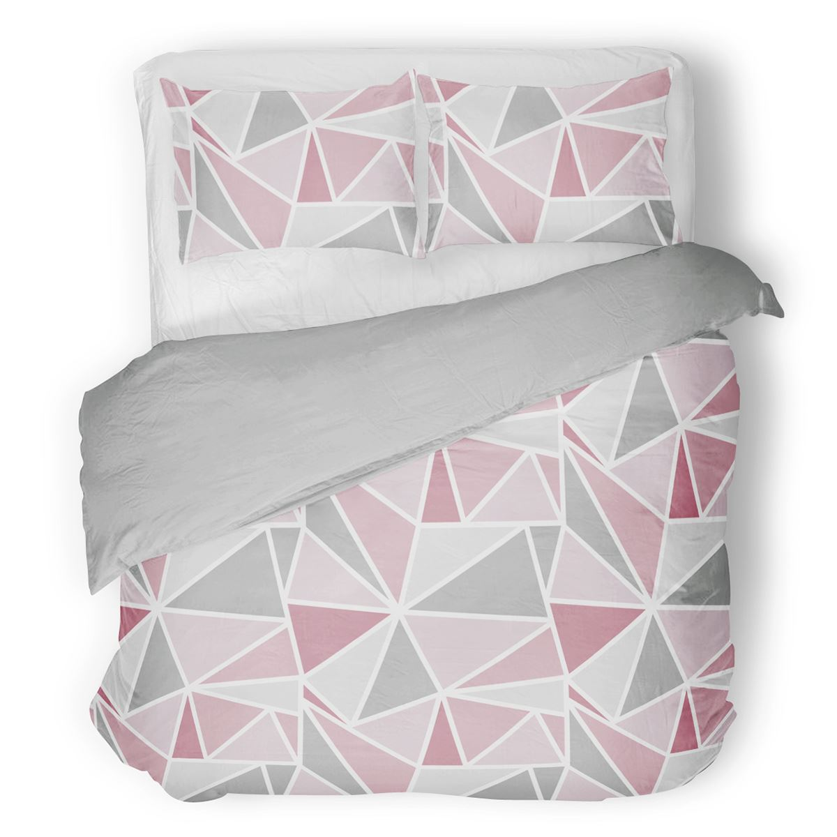 Metro Geometric Triangle Pink Grey Duvet Cover Set Single