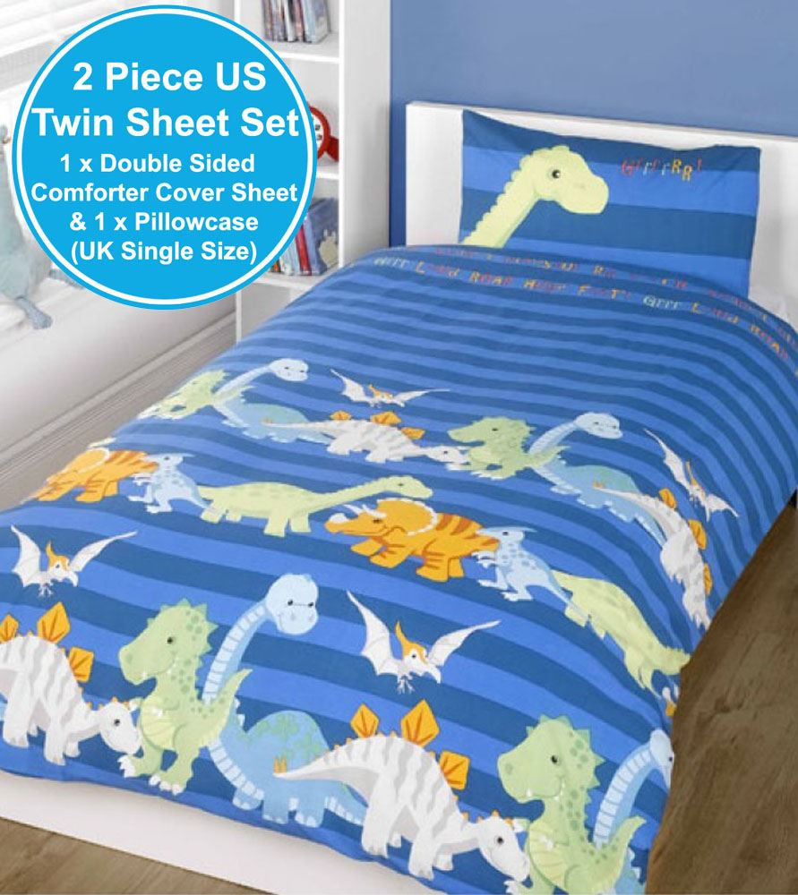 NEW DINOSAURS SINGLE DUVET COVER /& PILLOWCASE SET BOYS BEDDING NATURAL