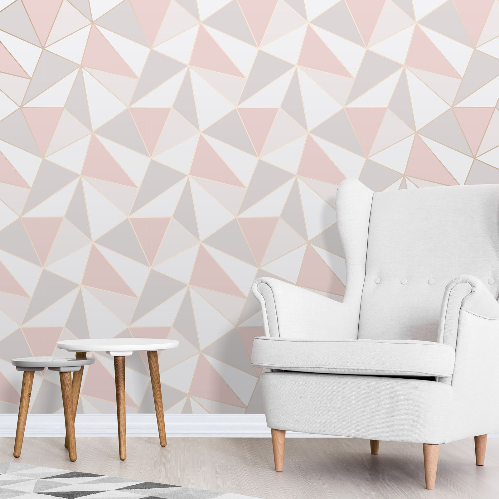 Apex geometric wallpaper rose gold pink fine decor for Bright pink wallpaper uk
