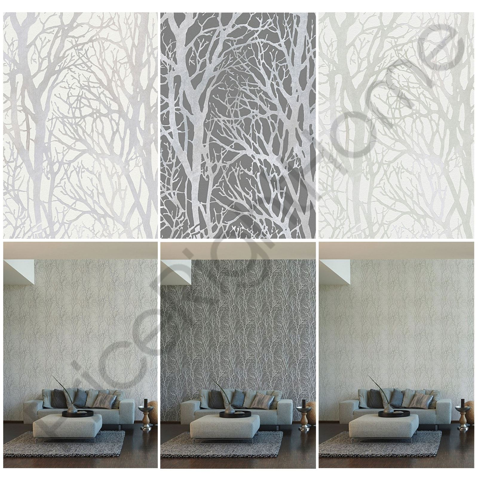 As Creation Tree Branches Wallpaper Feature Wall Grey