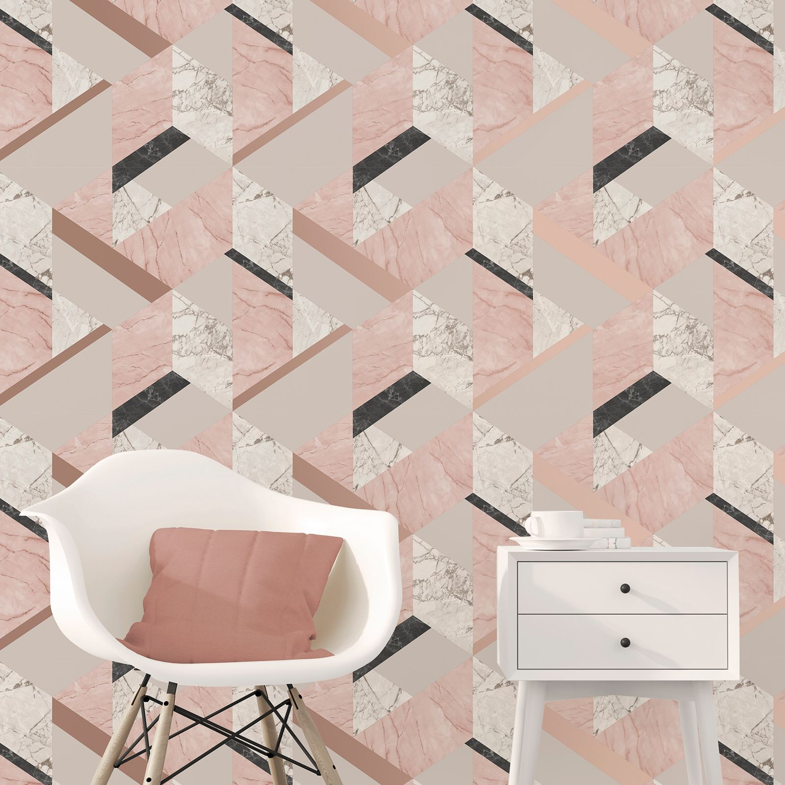 Marblesque Geometric Marble Wallpaper Pink Rose Gold Fine Decor Fd42303 Ebay