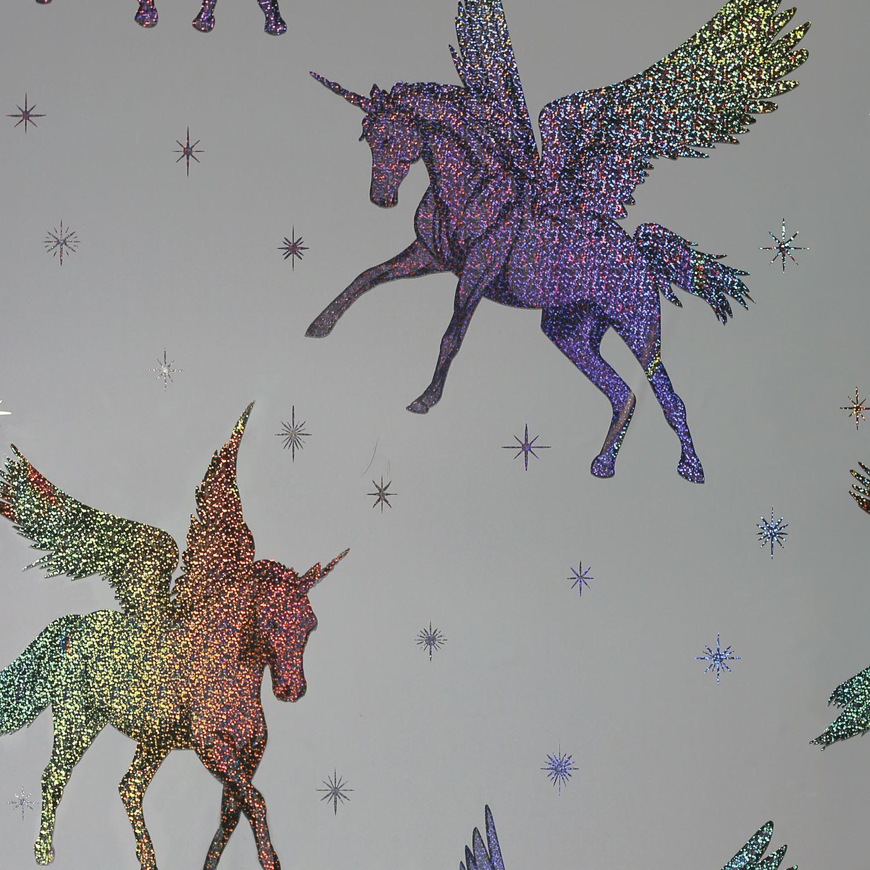 Unicorns Horses Wallpaper Kids Girls Bedroom Lilac Pink