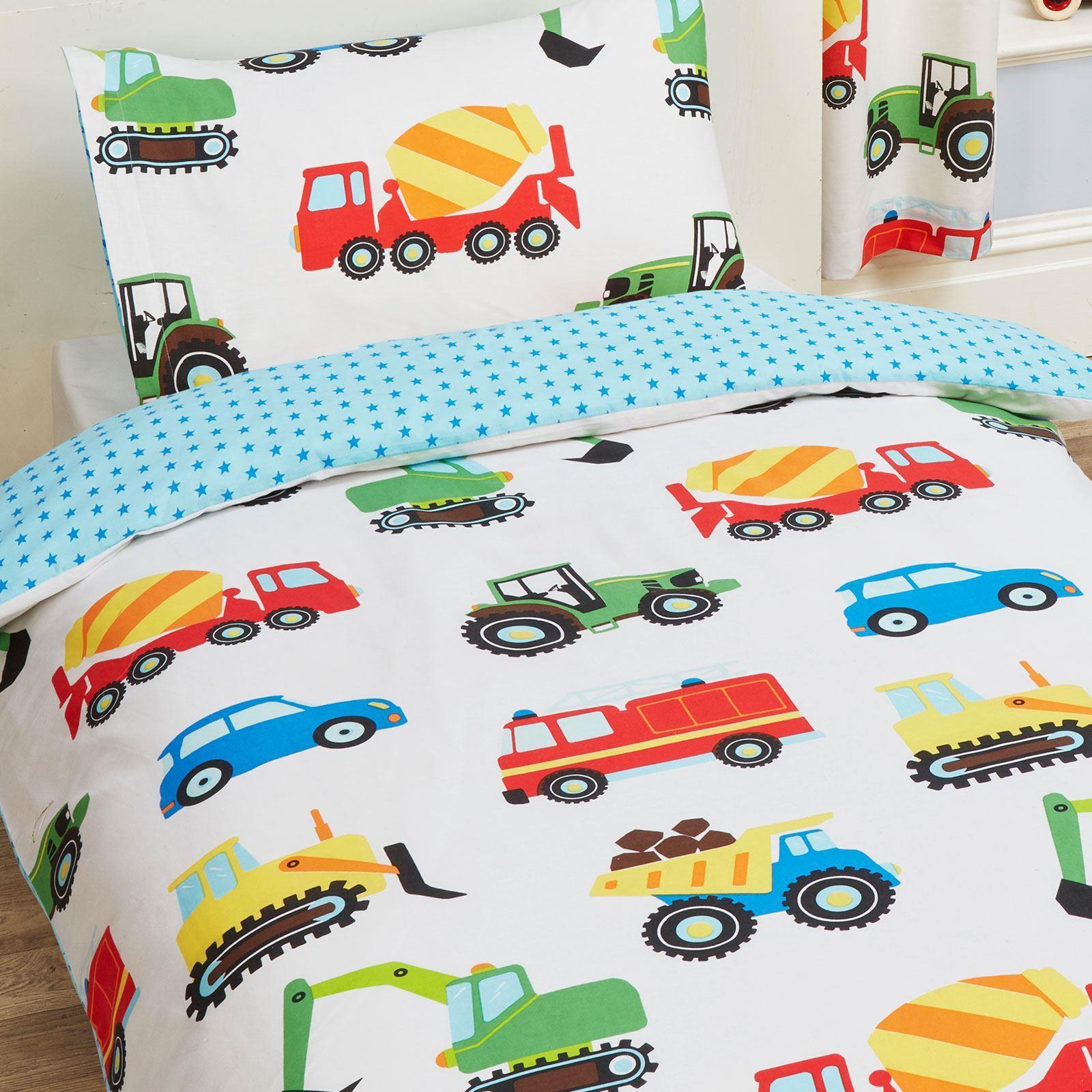 Trucks Transport Junior Cot Bed Duvet Cover Set Fire Engine 2 In 1 Design Ebay