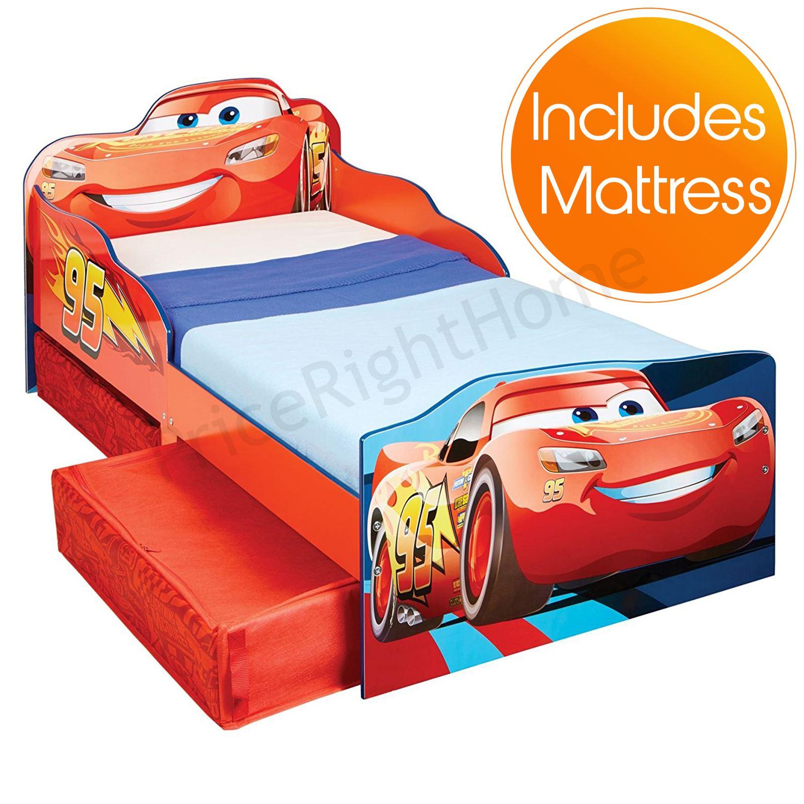 Letto Di Cars.Dettagli Su Disney Cars Saetta Mcqueen Junior Lettino Con Contenitore Materasso Opzioni