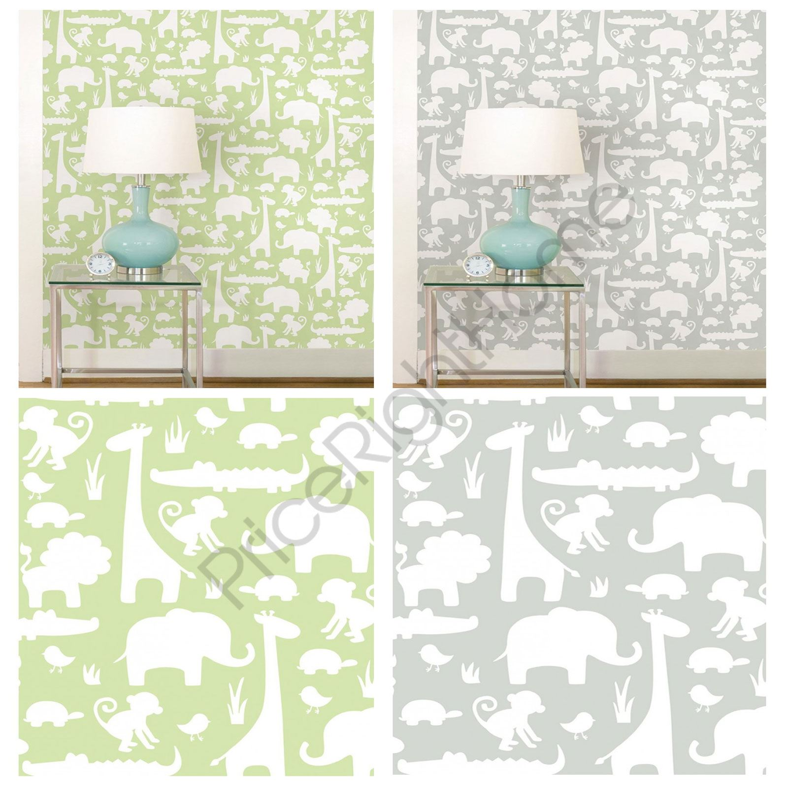 4697112db98c ITS A JUNGLE PEEL   STICK WALLPAPERS GREY GREEN KIDS NURSERY ANIMALS WALL  DECOR