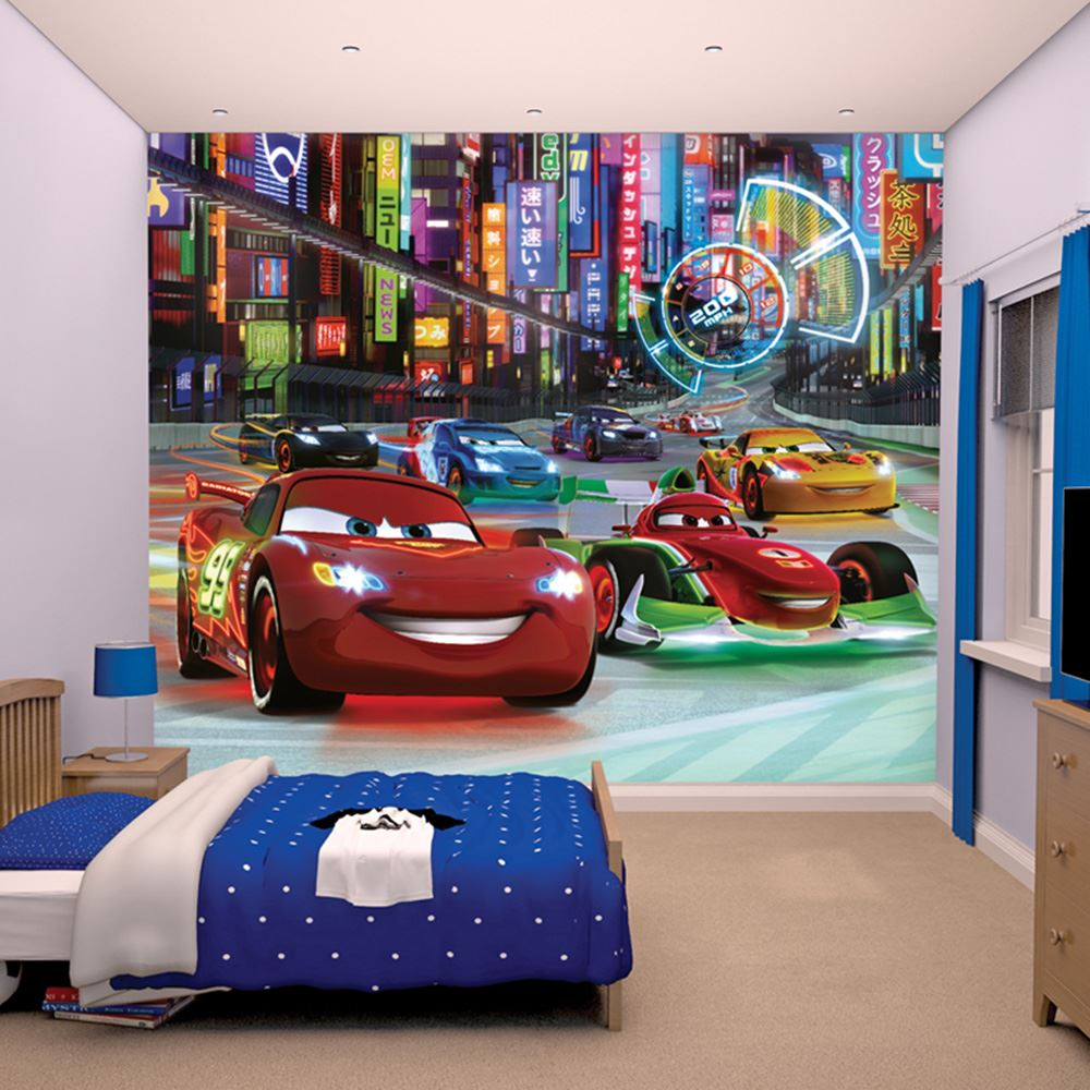 Disney cars wall murals 6 designs available kids bedroom for Disney car bedroom ideas