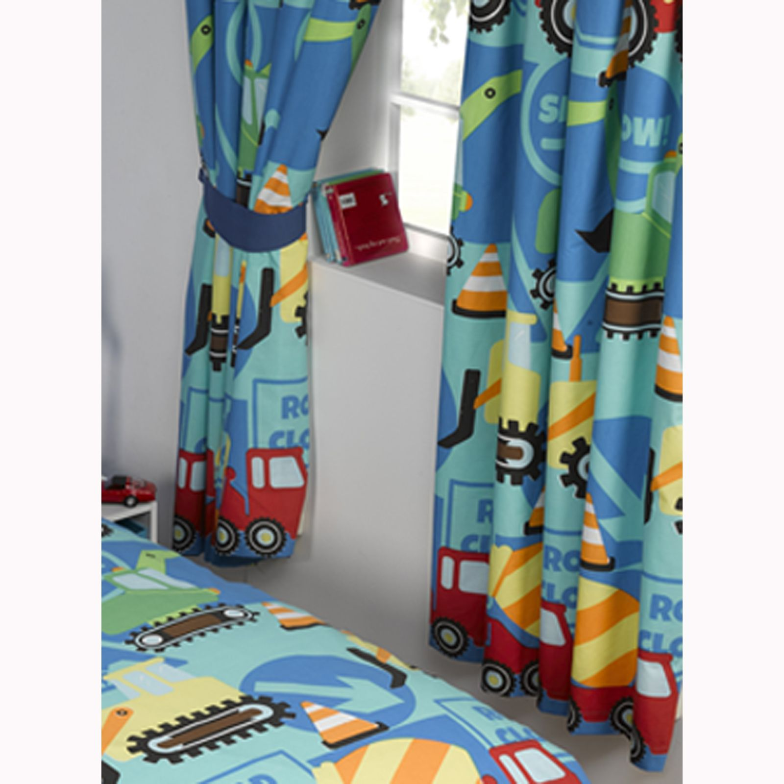 CONSTRUCTION TIME TRUCKS DIGGERS CURTAINS KIDS BOYS CURTAINS IN 54 ...