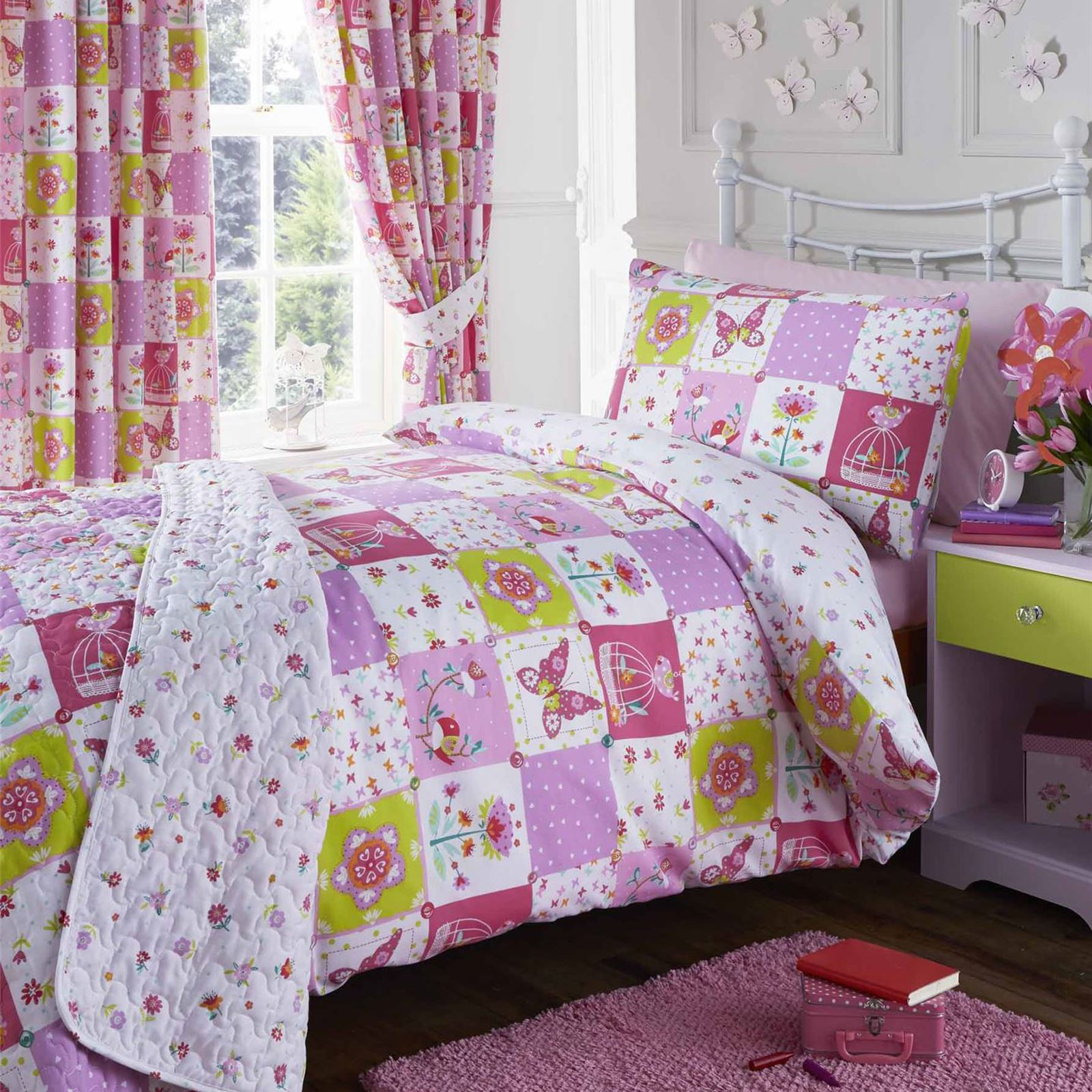 Girls single duvet cover sets bedding unicorn flower horse for Funda nordica gatos