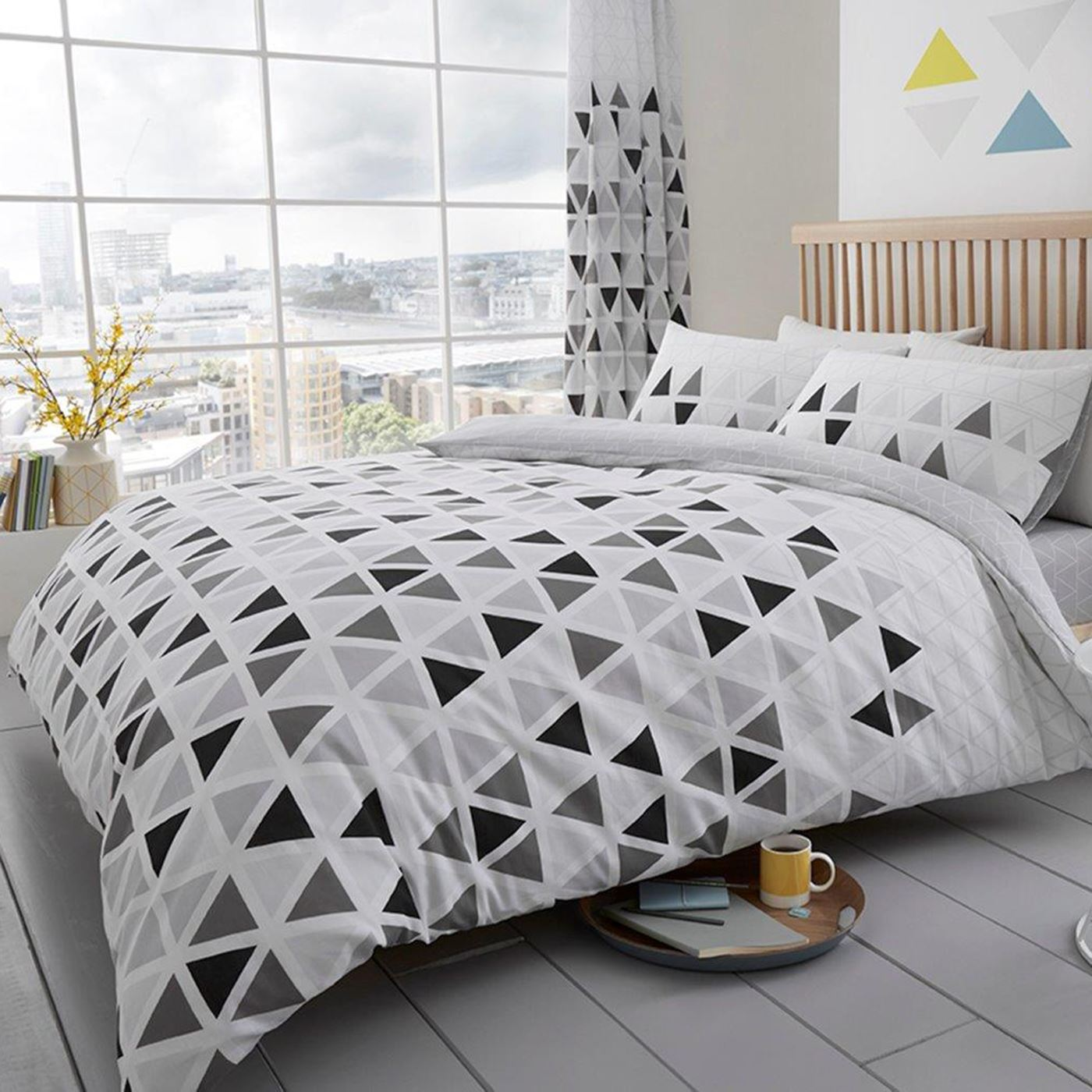 GEO TRIANGLE DUVET COVER SET BEDDING TEAL PINK GREY SINGLE DOUBLE
