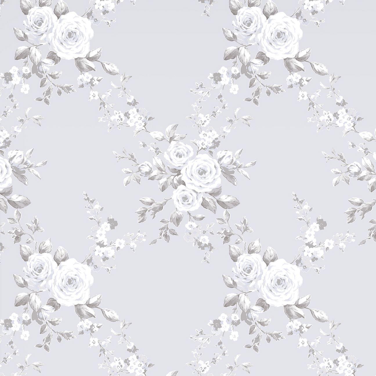Floral Wallpaper Metallic Glitter Flowers Roses Leaves Blooms