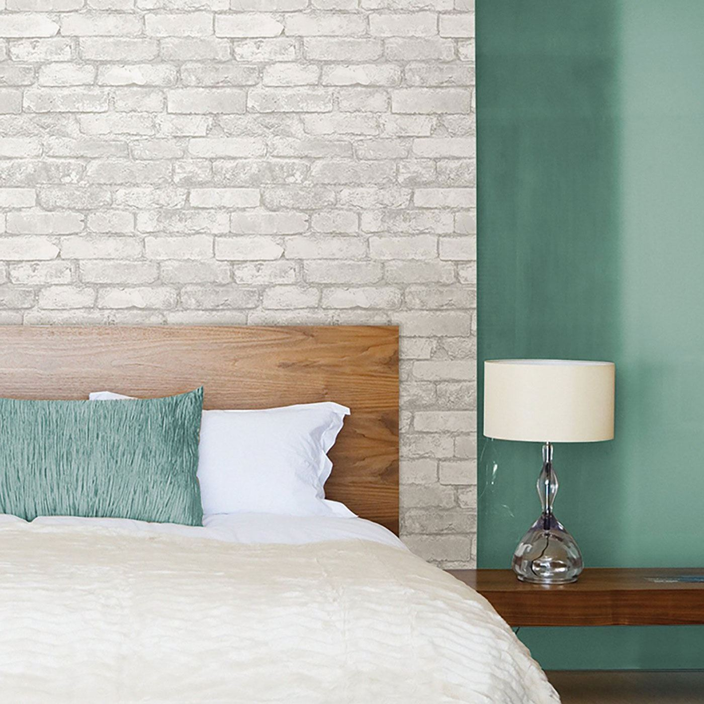 Details about NUWALLPAPER GREY AND WHITE BRICK PEEL & STICK WALLPAPER -  NU1653 - FEATURE WALL