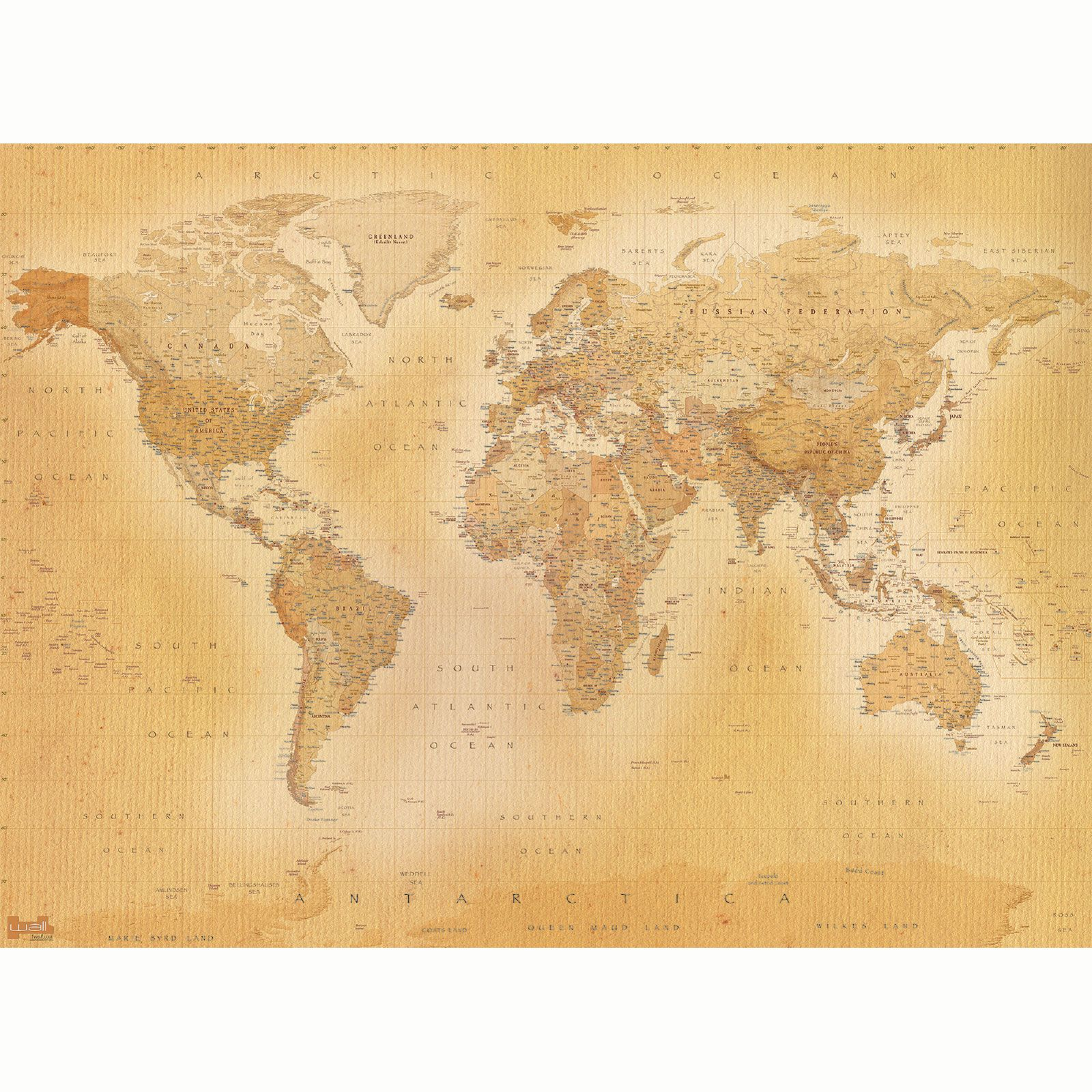 VINTAGE WORLD MAP WALLPAPER WALL MURAL 232m X 315m NEW ROOM DECOR