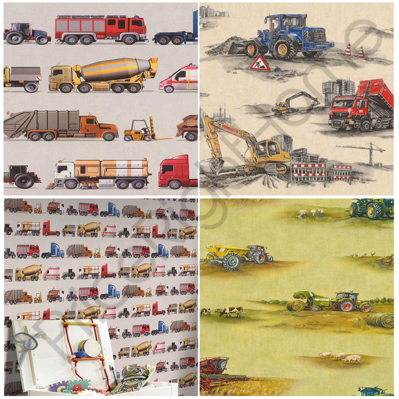 RASCH TRANSPORT WALLPAPER CONSTRUCTION TRACTOR VEHICLES KIDS BEDROOM ...