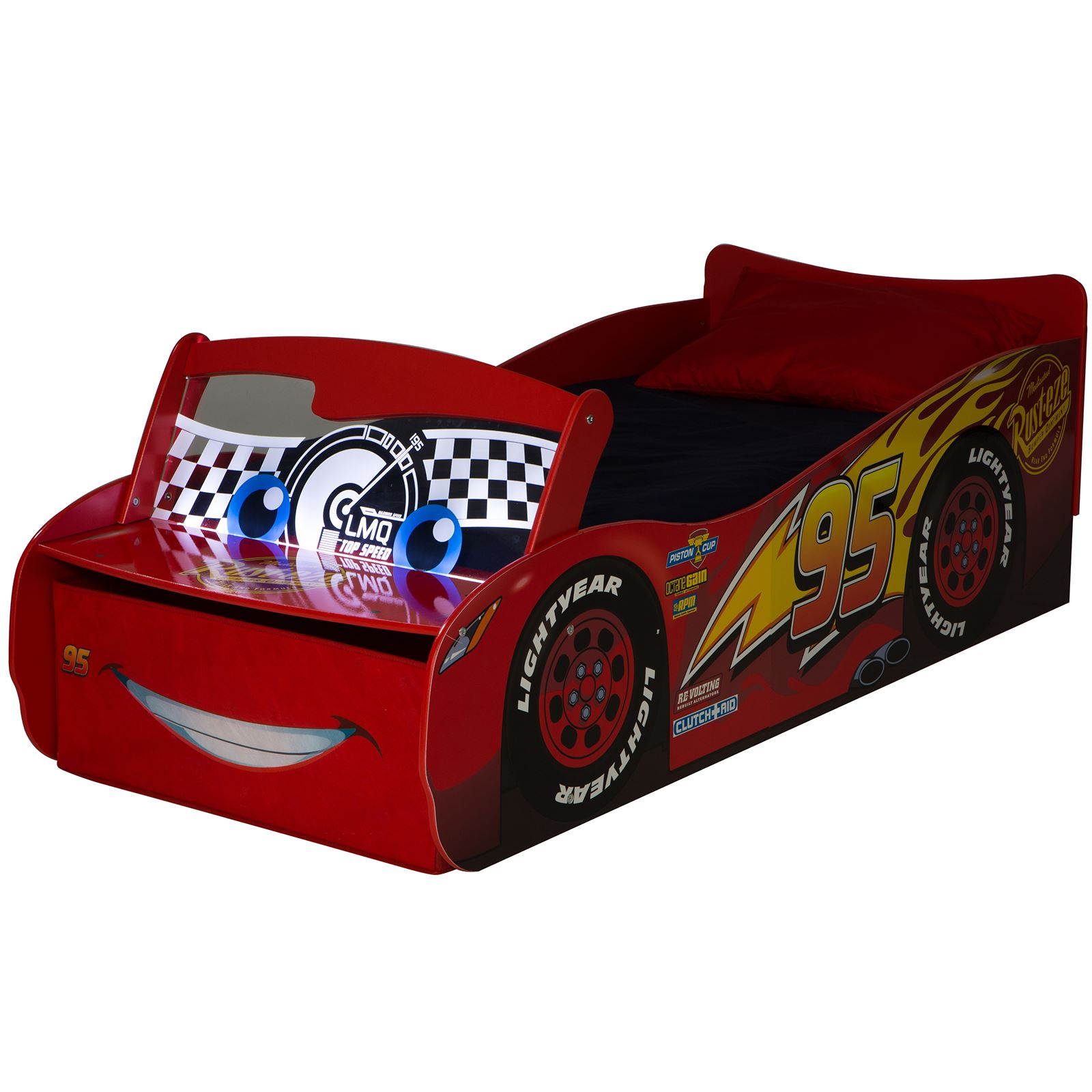 DISNEY CARS TODDLER BED WITH STORAGE LIGHT UP WINDSCREEN ...