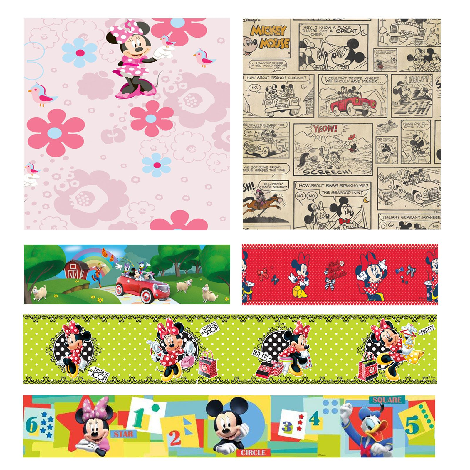 disney mickey minnie mouse tapete und grenzen kinder schlafzimmer ebay. Black Bedroom Furniture Sets. Home Design Ideas
