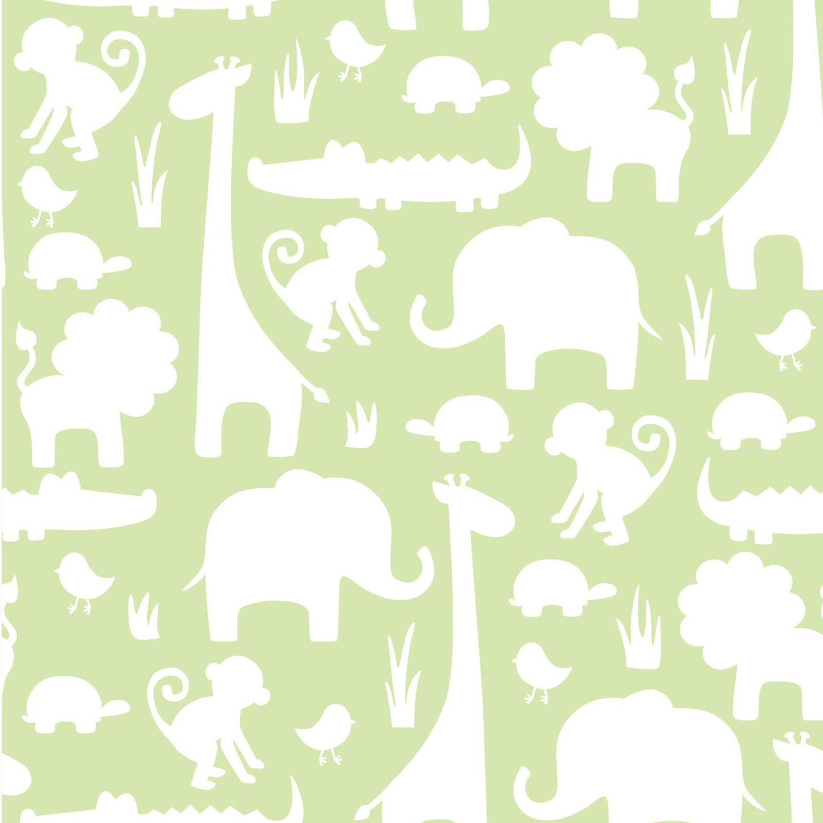 ITS A JUNGLE PEEL & STICK WALLPAPERS GREY GREEN KIDS NURSERY ANIMALS