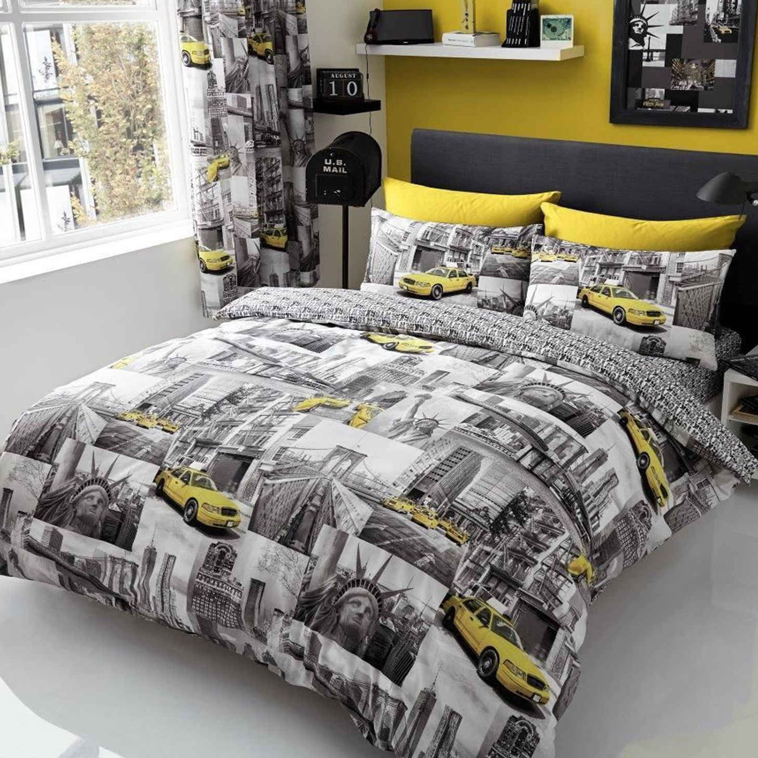 NEW YORK PATCH SINGLE DOUBLE DUVET COVER SETS STATUE OF LIBERTY