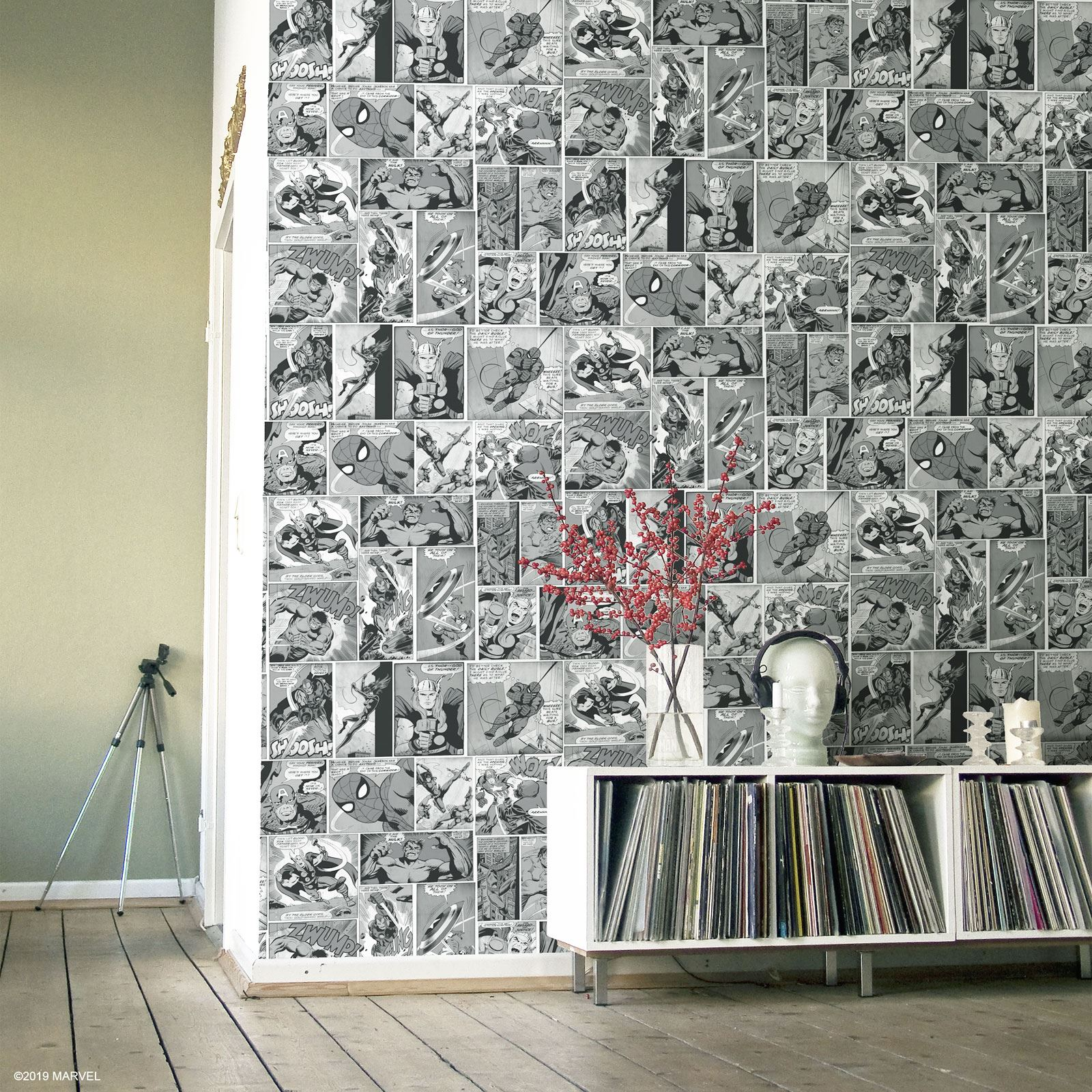 Marvel Comic Strip Wallpaper Black And White Muriva 159502 Playroom Children S Ebay