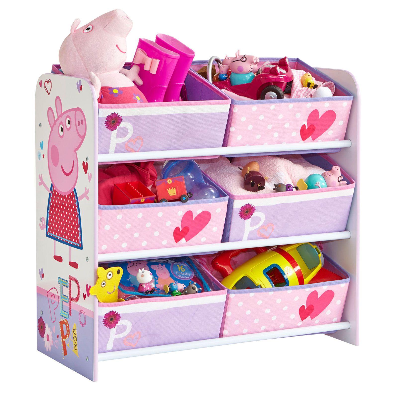 Peppa Pig Bedroom Decor Kids Character 6 Bin Storage Unit Bedroom Furniture Disney Peppa
